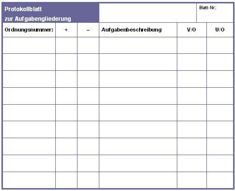 protokollblatt zur aufgabengliederung muster - Protokoll Muster
